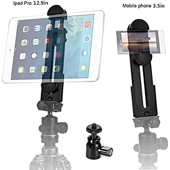"""ohCome 2-in-1 Phone iPad Tripod Mount Adapter Universal Tablet Clamp Holder fits 3.5-12.9"""" Inch Pads as iPad Air/Mini/Pro, Microsoft Surface, Most Phones & Mini Tripod Ball Head for Amazon Monopod"""