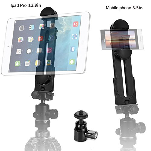 ohCome 2-in-1 Phone iPad Tripod Mount Adapter Universal Tablet Clamp Holder fits 3.5-12.9 Inch Pads as iPad Air/Mini/Pro, Microsoft Surface, Most Phones & Mini Tripod Ball Head for Amazon Monopod