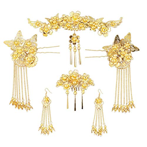 TOPJIN Gold-plated silver plated alloy crown tiara court retro jewelry bridal headdress hair bands handmade costume Chinese hair ring hair ()