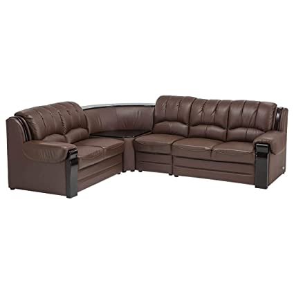 Durian Larry Five Seater L-Shaped Sofa (Cognac Brown)
