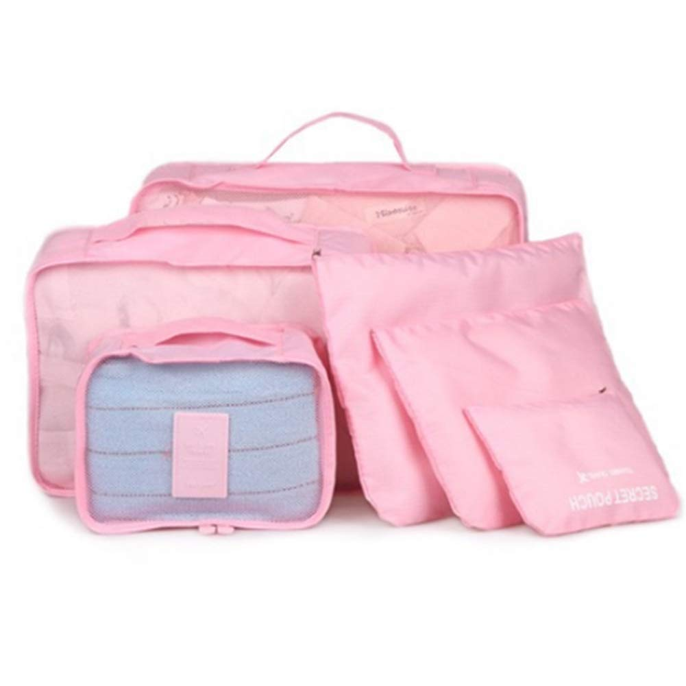 Travel Luggage Organizers Travel Packing Cubes Compression Travel Luggage Storage Bag Clothe Storage Bag 6 Pcs(Pink)