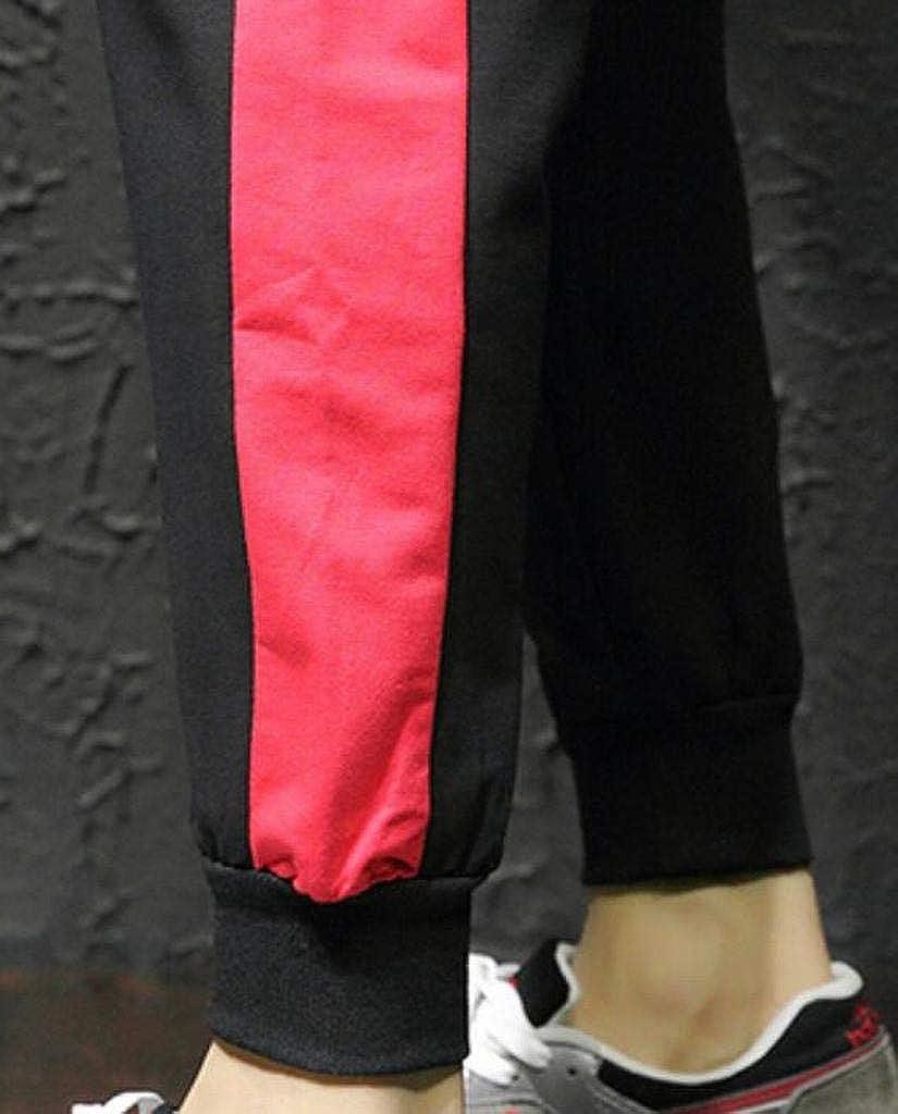 Jotebriyo Mens Cotton Drawstring Elastic Waist Jogger Pants Color Blocked Casual Pants Trousers