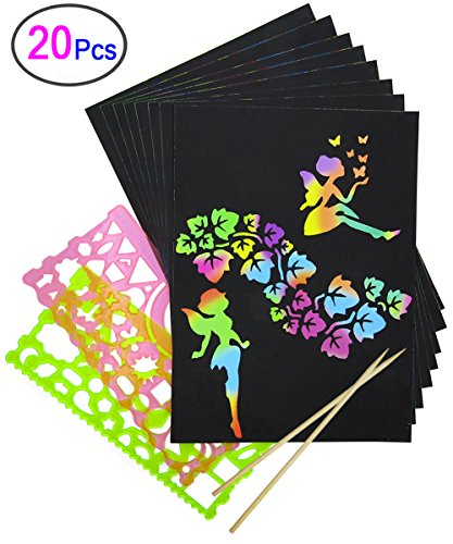 Rainbow Scratch Paper, Mega Value 20 Sheet Rainbow Art Scratch Boards.(2 Stylus and 2 rulers) ()