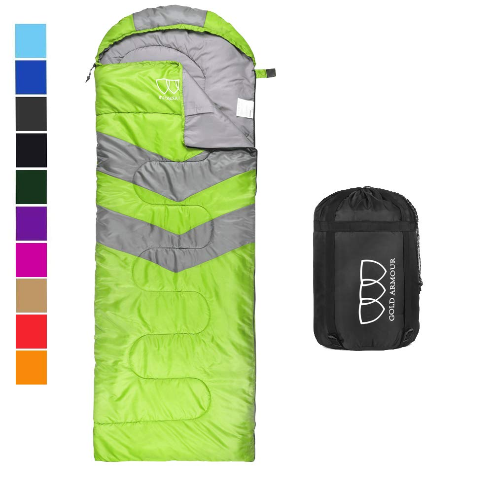 Sleeping Bag - Sleeping Bag for Indoor & Outdoor Use - Great for Kids, Boys, Girls, Teens & Adults. Ultralight and Compact Bags for Sleepover, Backpacking & Camping (Lime Green / Gray - Left Zipper) by Gold Armour