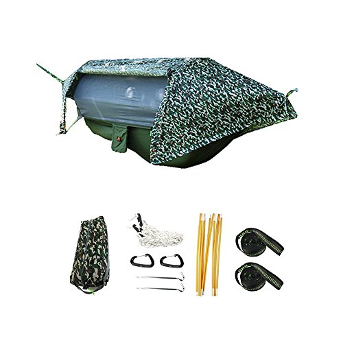 Crehouse Camping Hammock Tent with Mosquito Net and Rainfly Rain Cover Waterproof Shelter Portable for Backpacking (Camo Bug)