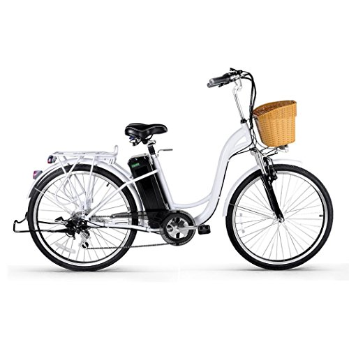 Women Electric Bike - Jushye 26-inch Camel Male Electric Bicycles with a Basket, Low-Carbon Environmental Protection, Superb Technology Electric Bikes For Christmas Gift(Women White),Ship Form US