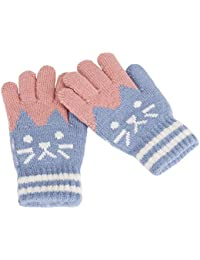 75df62cbc6f4f Kids Wool Cashmere Winter Thermal Mittens Gloves Boys Girls Cute Cat Face  Warm Stretch Full Finger