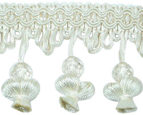 Expo International Stacia Onion Tassel Bead Fringe Trim Embellishment, 20-Yard, Ivory ()