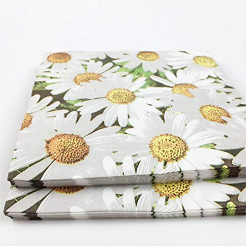 Fivtyily 100 Pack Daisy Dinner Napkins Disposable Decorative Paper Luncheon Napkins for Weeding Dinner Party