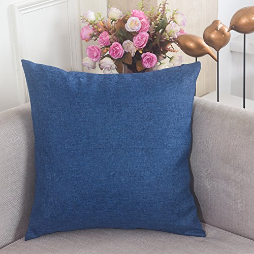 [Home Brilliant Breathable Faux Linen Square Throw Pillowcase Cushion Cover for Sofa, 18 x 18, Denim] (Homemade Costumes Funny)