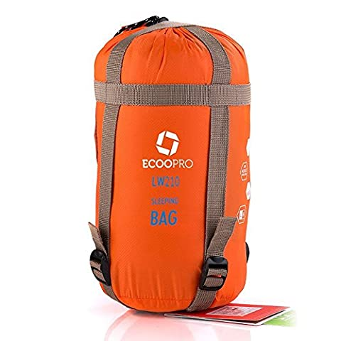 ECOOPRO Warm Weather Sleeping Bag - Outdoor Camping, Backpacking & Hiking - Fit for Kids, Teens and Adults - Spring, Summer & Fall - Lightweight, Waterproof & Compact Orange