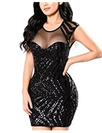Womens Hot Short Sleeves Mesh Sequin Mini Bodycon Party Dresses Clubwear Black S