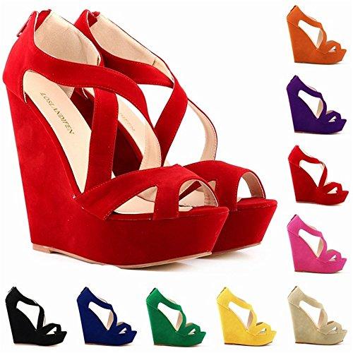 Top Shishang Sandalias Mujer Verano,Zapatos de Tacón Son Elegantes,Finales de Zapatos de Moda, Super de Moda Zapatos de Plataforma, y Diez Colores Son adecuados para Las Mujeres de Moda. De gules