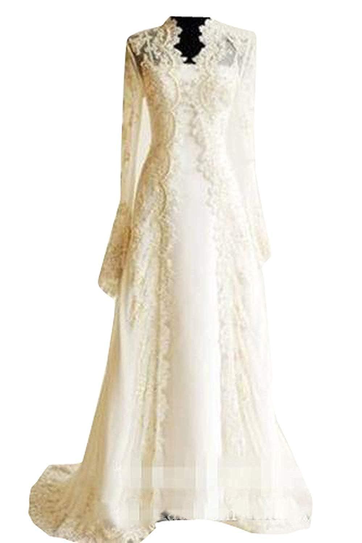Champagne EllieHouse Women's Wedding Capes Jackets Lace Applique Long Sleeves Bridal Bolero Cloak T32
