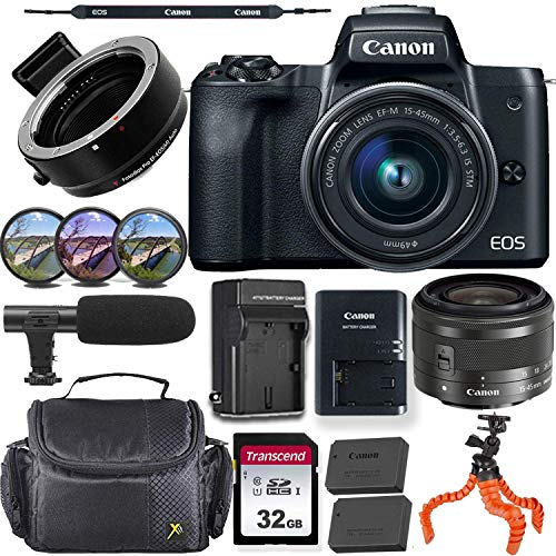 Canon EOS M50 Mirrorless Camera (Black) w/Canon 15-45mm f/3.5-6.3 is STM Lens + M-Adapter & Exclusive Video-Accessory Bundle