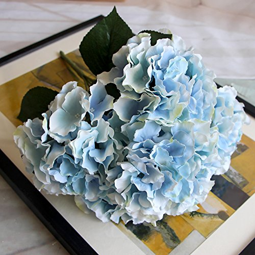Zhi Jin 5 Heads Large Silk Mallorca Artificial Hydrangea Bouquet Flowers Lifelike Fake Leaf Wedding Home Decor Pack of 2 Light Blue - Mallorca 2 Light