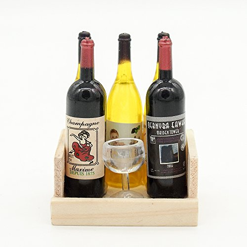 Odoria 1:12 Miniature Wooden Wine Crate with 5 Wine Bottles and 1 Goblet Dollhouse Kitchen Accessories