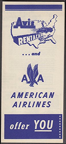 Avis Rent-a-Car & American Airlines offer YOU airline folder 1951