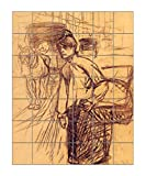 The Washing Machine (Toulouse-Lautrec) Vertical Tile Mural Satin Finish 28''Hx24''W 4 Inch Tile