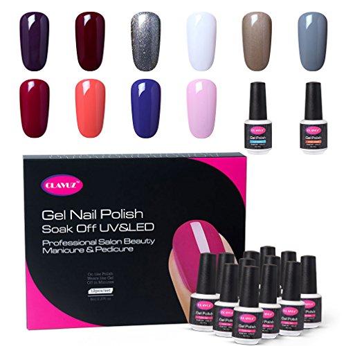CLAVUZ Gel Nail Polish Set 12PCS Soak Off UV Gel Nail Lacquer with Top and Base Coat Nail Art New Starter Kit 8ML