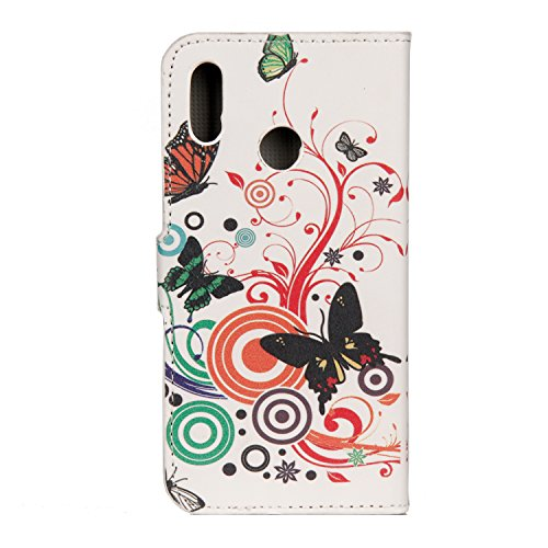 Huawei P20 Lite Flip Case,[Magnetic Closure] Silicone PU Leather Wallet Flip Folio Full body Protective Case Cover with Card Slots Cash Pocket Shell Stand for Huawei P20 Lite (Color butterflies)
