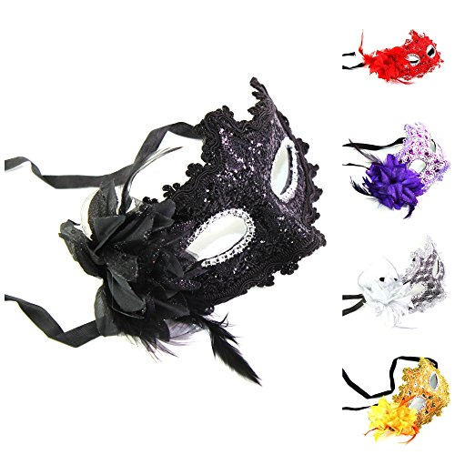 Set of 5: Black Red Silver Purple Orange Flower Feather Lace Masks Masquerade (Birthday Halloween, Christmas Costume Party)