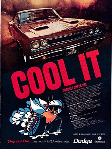 Stealth Bumble Bee - 1969 Dodge Coronet Super Bee Original Magazine Ad-Bumblebee Stripes-Chrysler-Auto