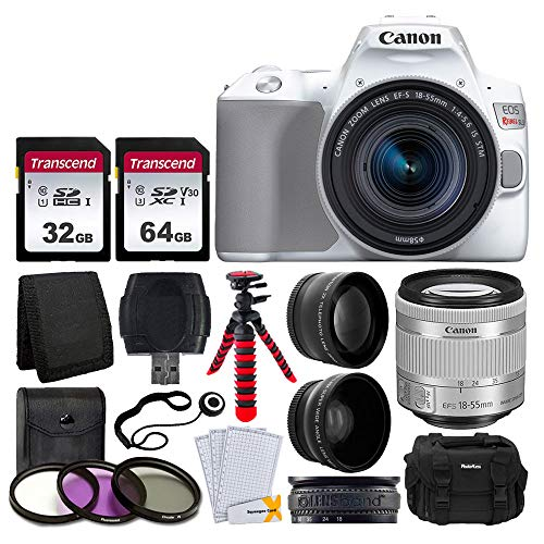 Canon EOS Rebel SL3 Digital SLR Camera (White) + EF-S 18-55mm f/4-5.6 IS STM Lens + 58mm 2X Professional Telephoto & 58mm Wide Angle Lens + 32GB & 64GB Memory Card + Case + Tripod + 3 Piece Filter Kit