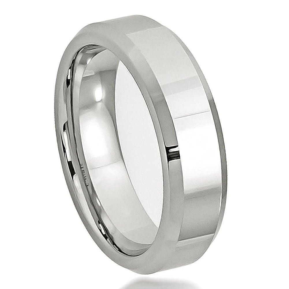 Cobalt High Polished Beveled Edge Wedding Band Ring 6mm Man or Ladies