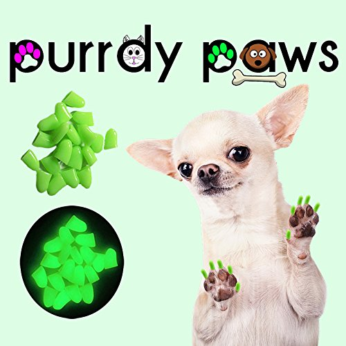 40-Pack Soft Nail Caps For Dog Claws ULTRA GLOW X-LARGE Purrdy Paws by Purrdy Paws