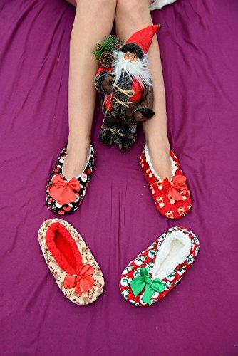 Women Ladies Co-zees Christmas 3 Design Print Pattern Sherpa Fleece Lined Ballerina Slippers Socks UK 4-7 Xmas-red Snowman Q61bErUa