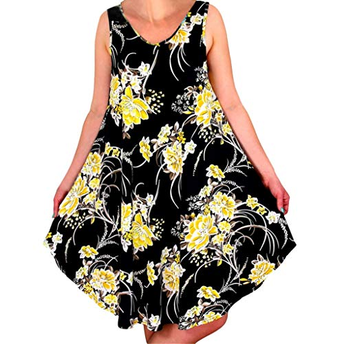 Loosebee Summer Sleeveless Floral Dress Printing Casual Sundress Yellow
