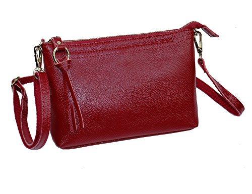 Shoulder Red Purse Body Bag Genuine Women's Leather DOURR Burgundy Small Clutch Cross xqfYwzRP