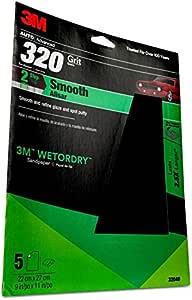 3M Wetordry Sandpaper, 32040, 320 Grit, 9 inch x 11 inch, 5 per pack