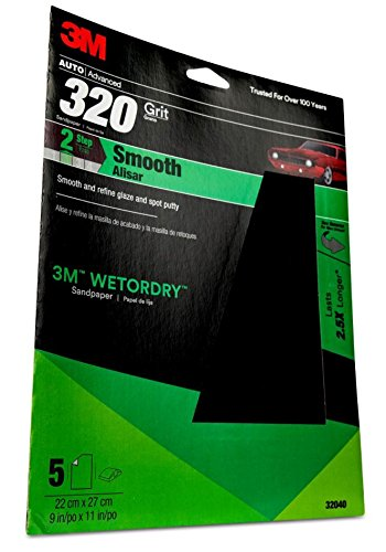 320 Grit 9-Inch x 11-Inch 3M 25320P-G Pro Grade No-Slip Grip Advanced Sandpaper Pack of 3