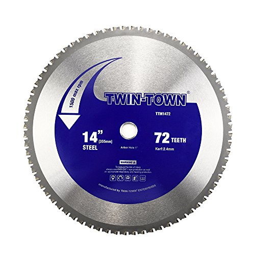 Dry Cut Circular Saws - TWIN-TOWN 14-Inch 72 Tooth Dry Cut Steel and Ferrous Metal Saw Blade with 1-Inch Arbor