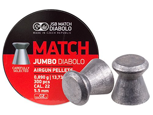 JSB Match Jumbo Diabolo Pellets.22 Cal, 13.73 Grains, Wadcutter, 300ct by JSB