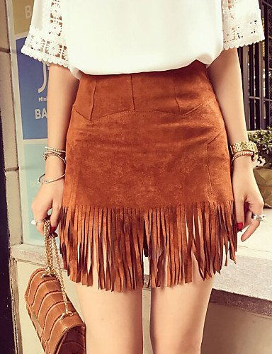 YY de las mujeres Vintage/Casual Mini Faldas, Ante micro-elastic ...