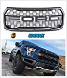 #2: Flash2ning FRONT Mesh Grille Replacement With F&R Letters With PLATINUM LED For 2015 2016 2017 Ford F150 Raptor Style