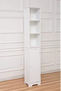 slim shaker tall boy with shelves free standing bathroom storage cabinet unit white wooden