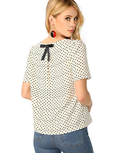 ROMWE Women's Casual Bow Back Short Sleeve Heart Print Summer Blouse Tops Beige Large (Heart Print Blouse)