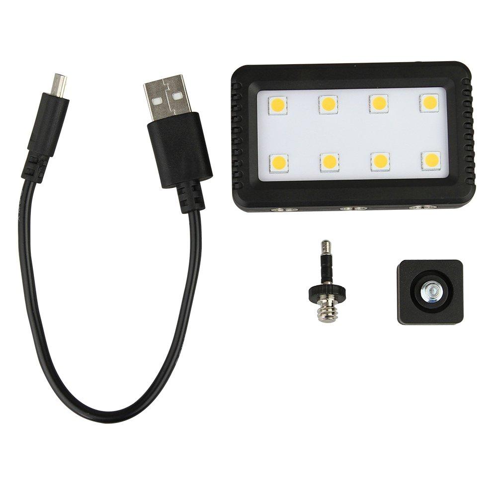 JJC LED-8 Mini Adjustable LED Light with Standard Hot Shot Adapter & 3.5mm Plug Jack Headphone Adapter for Camera Camcorder & Iphone 6 + Ipad air mini Ipod Touch Laptop Keyboard Light