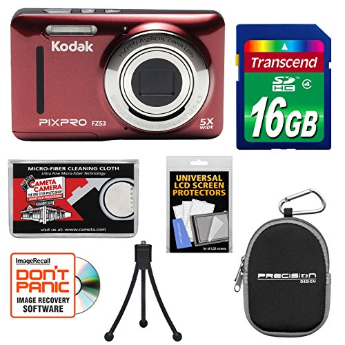 Kodak PixPro Friendly Zoom FZ53 Digital Camera (Red) with 16GB Card + Case + Tripod + Kit