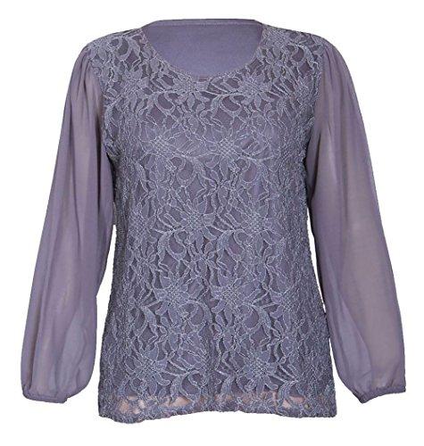PurpleHanger Women's Chiffon Sheer Floral Blouse Top Plus Size Dark Grey ()