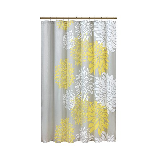 Comfort Spaces – Enya Shower Curtain – Yellow, Grey – Floral Printed- 72x72 inches -
