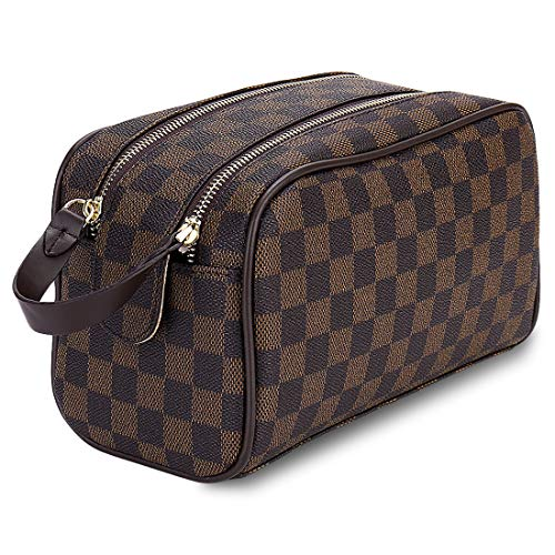 Luxury Checkered Cosmetic Bag Two-Zipper Make Up Bag PU Leather Toiletry Travel Bag for Women,Brown