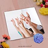 VROSELV Custom Cotton Microfiber Ultra Soft Hand Towel-row of multiethnic college students raising hands in classroom Custom pattern of household products(14''x14'')