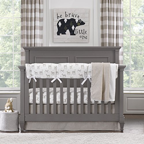 Liz and Roo Fawn Bumperless Crib Bedding 3-Piece Set, Taupe