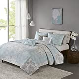 Lucinda 6 Piece Reversible Cotton Sateen Coverlet Set Blue Full/Queen
