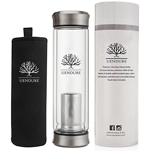 Glass Tea Infuser Travel Mug with Strainer | 14oz Tea Tumbler Bottle for Loose Leaf Tea, Matcha, Fruit and Cold Brew Coffee | BPA FREE Tea Cup with Stainless Steel Mesh Filter | Great Gift Idea